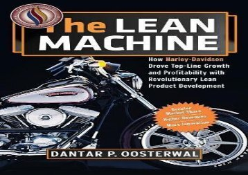 [+][PDF] TOP TREND The Lean Machine: How Harley-Davidson Drove Top-Line Growth and Profitability with Revolutionary Lean Product Development [PDF]