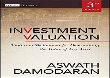 [+][PDF] TOP TREND Investment Valuation: Tools and Techniques for Determining the Value of Any Asset (Wiley Finance)  [FULL]
