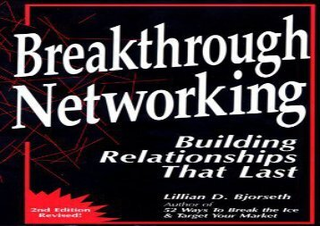 [+]The best book of the month Breakthrough Networking: Building Relationships That Last Second Edition  [NEWS]