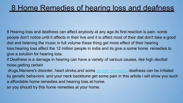 8 Home Remedies of hearing loss and deafness