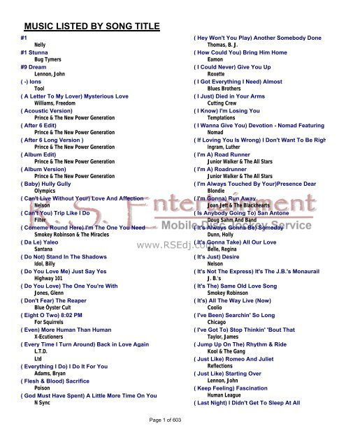 MUSIC LISTED BY SONG TITLE - Home gci net