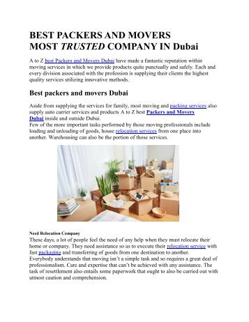 ​​​​​​A to Z Packers and Movers in Dubai | Best moving company in Dubai