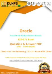 Oracle 1Z0-071 Exam Questions