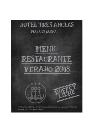 Menú Verano 2018 - Hotel Tres Anclas