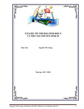 Tài liệu ôn thi HSG  Sinh học 9 và chuyên sinh 10 phần phân bào - GV Nguyễn Viết Trung - Năm học 2017-2018