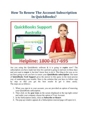 How to renew the account subscription in QuickBooks?