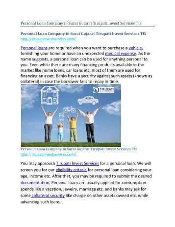 Personal Loan Company in Surat Gujarat Tirupati Invest Services TIS