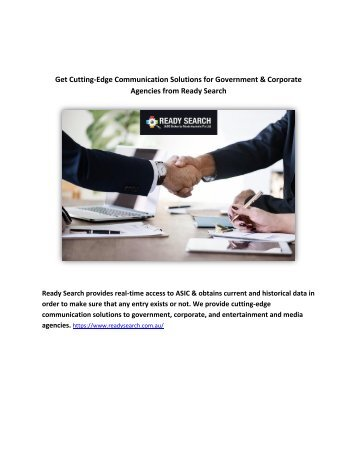 Get Cutting-Edge Communication Solutions for Government & Corporate Agencies from Ready Search