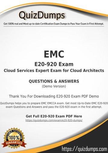 E20-920 Exam Dumps - Real E20-920 Dumps PDF [2018]