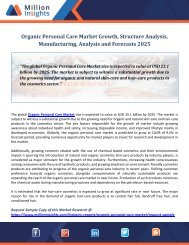 Organic Personal Care Market Growth, Structure Analysis, Manufacturing, Analysis and Forecasts 2025