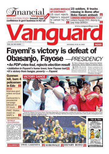 16072018 - Fayemi's victory is defeat of Obasanjo, Fayose —PRESIDENCY