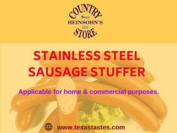 Buy Stainless Steel Sausage Stuffer from Heinsohn's Country Store, TX, USA