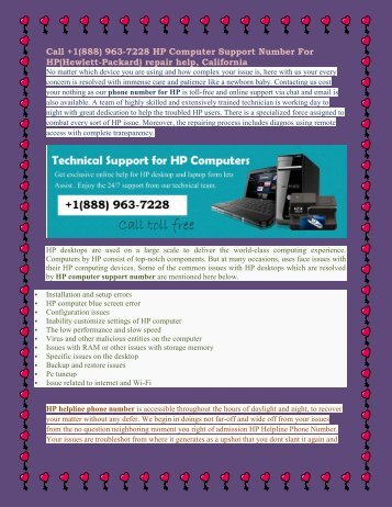 Call +1(888) 963-7228 HP Computer Support Number For HP(Hewlett-Packard) repair help, California.output