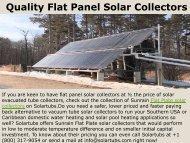 Quality Flat Panel Solar Collectors