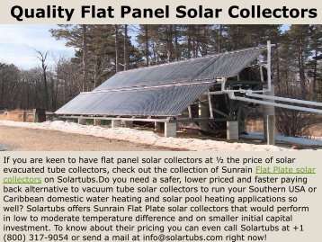 Quality Flat Panel Solar Collectors