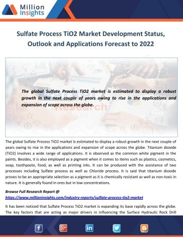 Sulfate Process TiO2 Market Development Status, Outlook and Applications Forecast to 2022