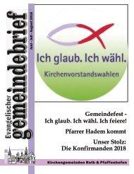 Evang.-luth. Kirchengemeinde Roth - Gemeindebrief Juni 2018 - Aug. 2018