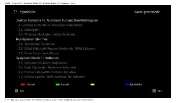 Sony KDL-40Z5810 - KDL-40Z5810 Consignes d'utilisation Turc
