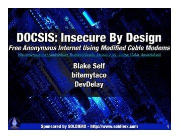 DOCSIS, Insecure By Design - Defcon