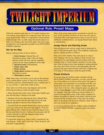 Optional Rule: Preset Maps - Fantasy Flight Games
