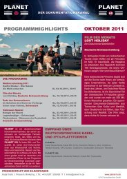 ProgrammHigHligHts oktoBer 2011 - Planet