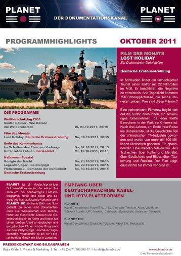 ProgrammHigHligHts oktoBer 2011 - Planet