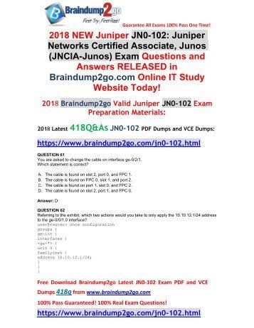 [2018-7-Version]New Braindump2go JN0-102 PDF and VCE Dumps 418Q&As Free Share(61-75)