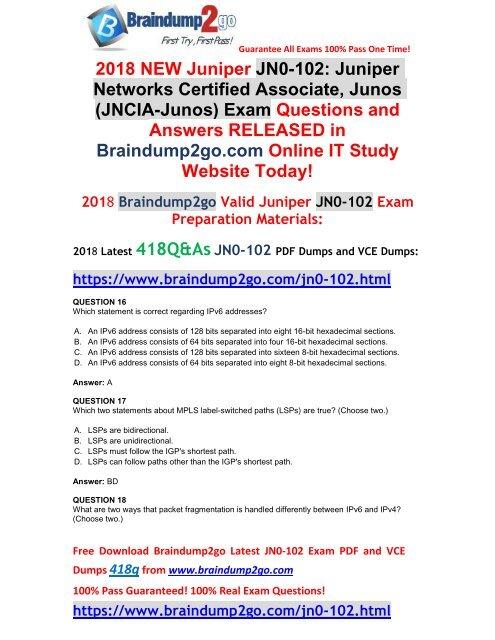 2018-7-Version]New Braindump2go JN0-102 Dumps with PDF and VCE