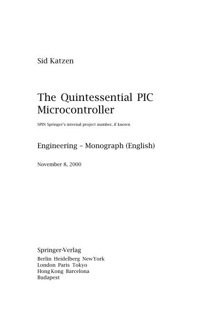 The Quintessential PIC Microcontroller DSP Book