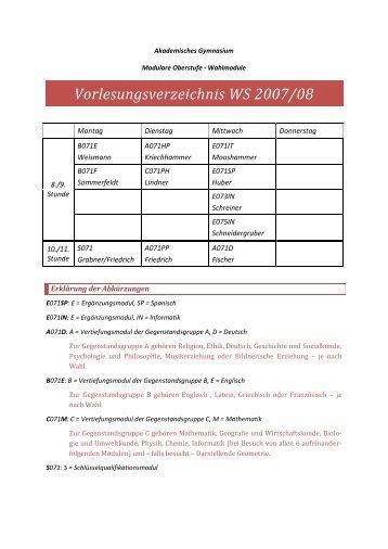 Vorlesungsverzeichnis WS 2007/08 - Akademisches Gymnasium