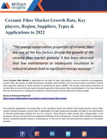 Ceramic Fiber Market Outlook 2022: Market Trends, Segmentation, Market Growth And Competitive Landscape