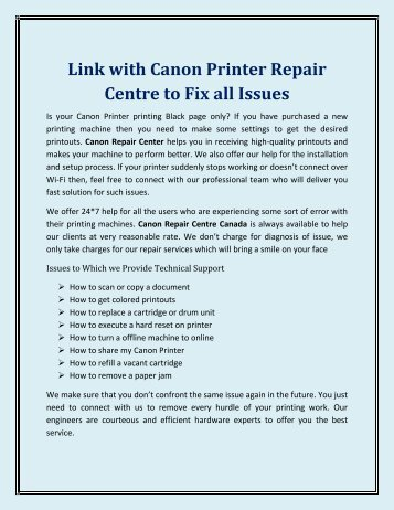 Link with Canon Printer Repair Centre to Fix all Issues