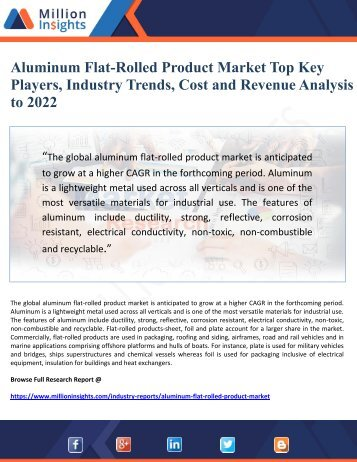Aluminum Flat-Rolled Product Market Top Key Players, Industry Trends, Cost and Revenue Analysis to 2022
