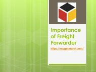 Importance of Freight Forwarder