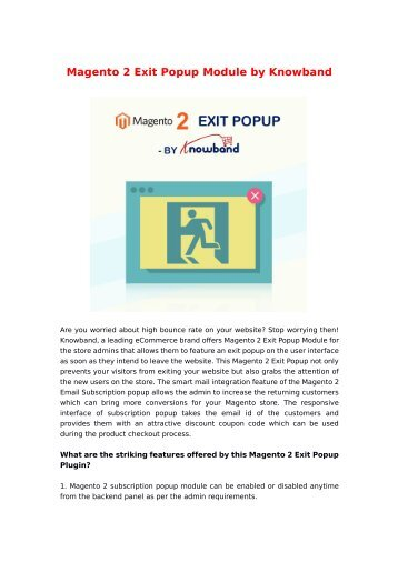 Magento 2 Exit Popup Module by Knowband