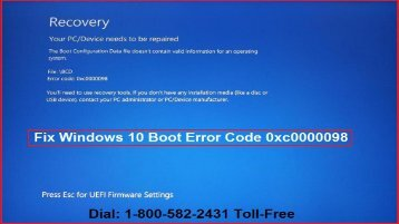 Fix Windows 10 Boot Error Code 0xc0000098  1-800-582-2431