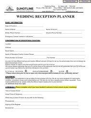 WEDDING RECEPTION PLANNER - DJ Hotline