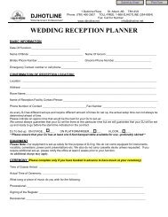 WEDDING RECEPTION PLANNER - DJ Hotline