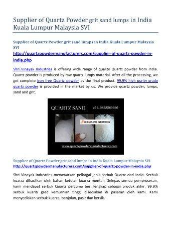 Supplier ofQuartzPowder in India Kuala Lumpur Malaysia SVI