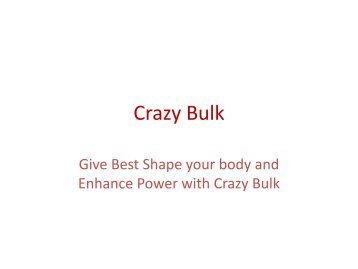 Provide You Massive Muscle Gains with Crazy Bulk