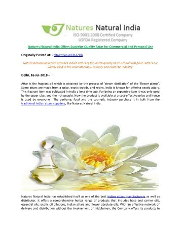 Natures Natural India Offers Superior-Quality Attar for Commercial and Personal Use