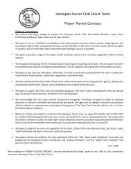 Henlopen Soccer Club Select Team Player- Parent Contract