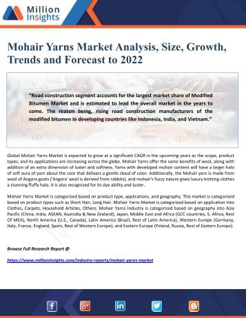 Mohair Yarns Market Analysis, Size, Growth, Trends and Forecast to 2022