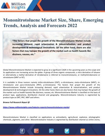 Mononitrotoluene Market Size, Share, Emerging Trends, Analysis and Forecasts 2022