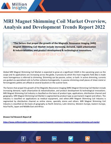 MRI Magnet Shimming Coil Market Overview, Analysis and Development Trends Report 2022