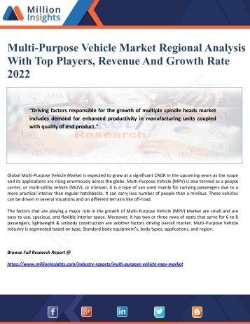Multi-Purpose Vehicle Market Regional Analysis With Top Players, Revenue And Growth Rate 2022