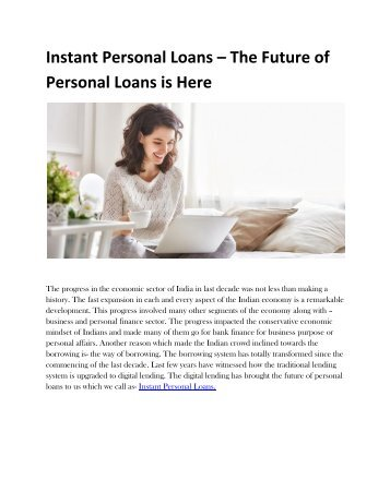 Instant Personal Loans   The Future of Personal Loans is Here