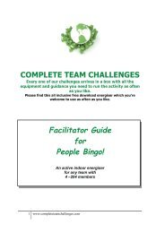 Facilitator Guide for People Bingo! - Complete Team Challenges