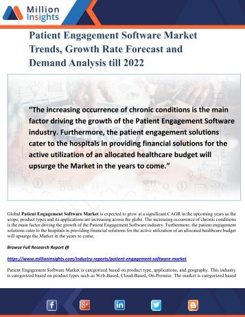 Patient Engagement Software Market Trends, Growth Rate Forecast and Demand Analysis till 2022