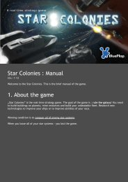 Star Colonies : Manual 1. About the game - BluePlop